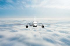 Airplane is rapidly flying straight at high speed overcast cloud stock photos
