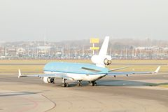 Airplane ready for take off from the Netherlands Royalty Free Stock Photos