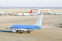 Airplane ready for take off from the Netherlands Royalty Free Stock Image