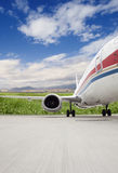 Airplane ready for takeoff at airport Stock Photos