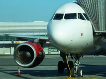 Airplane ready to board in the airport of Prague, Czech Republic stock image