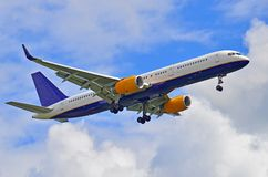 Airplane ready to land. Commercial airliner  approach to airport Royalty Free Stock Photography
