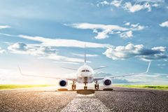 Airplane ready to take off. Passenger aircraft, airline. Transport, travel. Airplane ready to take off from runway. A big passenger or cargo aircraft, airline