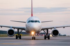 Airplane ready to take off from runway. A big stock image
