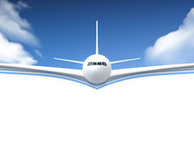 Airplane Realistic Poster. Realistic poster white Airplane flying in the sky with white bottom abstract background vector illustration