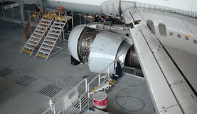 Airplane repair and modernisation Stock Image