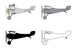 Airplane Retro Biplane di modello Fotografie Stock Libere da Diritti