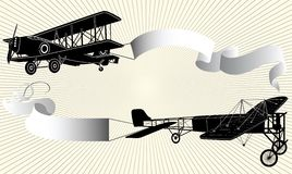 Airplane with ribbon. Biplane pulling a blank banner. Airplane with ribbon. Vector illustration Stock Photos