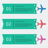 Airplane and Ribbon. Editable airplane and ribbon infographic vector template in flat style Stock Photos