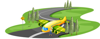 An airplane at the road beside the young girl Royalty Free Stock Photos