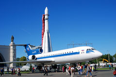 Airplane and rocket shown at VDNH park in Moscow Royalty Free Stock Photo