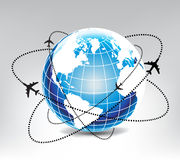 Airplane route in blue world Stock Image