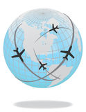 Airplane route in blue world Royalty Free Stock Photo