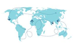 Airplane route. Plane trace line, aeroplanes pathways flight lines, planning routes travels pointers traffic track path vector illustration