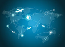 Airplane Routes on map Royalty Free Stock Photos