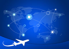 Airplane Routes on map Royalty Free Stock Images
