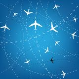 Airplane Routes And Stars Stock Photos