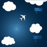 Airplane routes to place of destination. Stock Photography