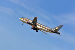 Airplane of Royal Jordanian Airlines above Frankfurt airport Royalty Free Stock Photo