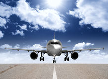 Airplane in the runway. Modern airplane in the runway Stock Image