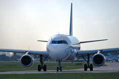 Airplane on the runway Stock Image