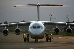 Airplane on the runway. Airplane on the airport runway Stock Photos