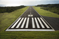 Airplane runway. Aerial view of paved airplane runway on Maui, Hawaii Stock Photos