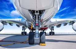 Airplane on a runway royalty free stock photos