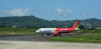 An airplane on runway at Lien Khang airport in Dalat, Lam Dong, Vietnam Royalty Free Stock Photography