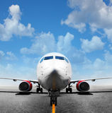 Airplane in the runway Royalty Free Stock Images