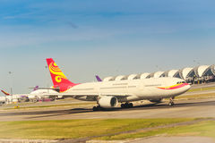 Airplane on the runway that prepare to taking off at Suvarnabhumi airport, Thailand, One of the most busiest airport in Asia. stock photography