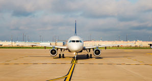 Airplane on the runway. Airplane on runway preparing for take off stock images