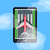 Airplane on Runway in Smartphone. Blue Sky. Cloud. Aircraft on runway in smartphone. Making order on tickets via internet. E-commerce concept. Marking road Royalty Free Stock Image