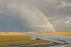 Airplane on runway at takeoff Royalty Free Stock Image
