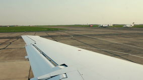 Airplane on the runway time lapse stock footage