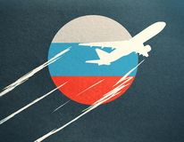 Airplane with Russian flag. Abstract taking off airplane drawing with Russian flag on dark background Stock Photo