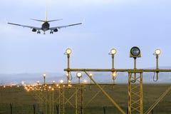 Airplane's landing Royalty Free Stock Image