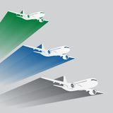 Airplane's silhouettes with color trace Royalty Free Stock Photos