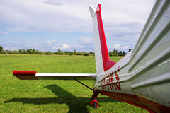Airplane's tail. Small airplane's tail the the fields Stock Photos