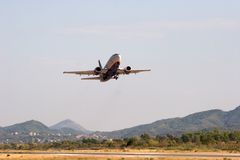 Airplane's takeoff Royalty Free Stock Photos
