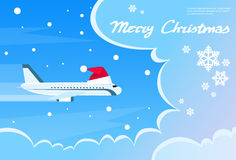 Airplane Santa Red Christmas Hat Cloud Blue Sky. Banner Flat Vector Illustration Stock Photography