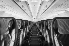 Airplane seat inside an aircraft Royalty Free Stock Photo