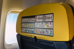 Airplane Seat, Window: Inside Aircraft Cabin Stock Image