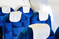 Airplane seats. Boeing airplane interior empty and passenger  free Stock Photo