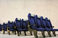 Airplane seats in old grunge picture Stock Photo