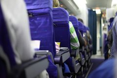 Airplane seats in row Stock Photo