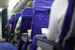 Airplane seats in row Royalty Free Stock Image