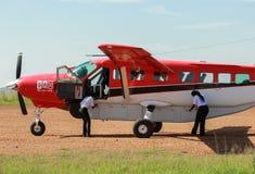 Airplane service in Maasai Mara Park in Kenya Stock Photography