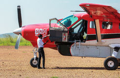 Airplane service in Maasai Mara Park in Kenya Royalty Free Stock Photography