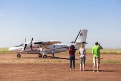 Airplane service in Maasai Mara Park in Kenya Stock Images